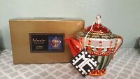 Mary Engelbreit Polonaise Tea Party Teapot Christmas Ornament With Box