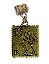 18 Cent Postage Stamp Woman Collector Mail Bronze Charm for European Bracelet