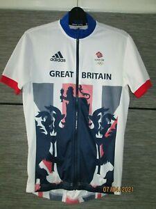 Team GB Men's Cycling Jersey adidas GB Replica Zip Top - White Size BNWOT