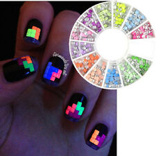 400pcs 2mm Nail Art Tips Studs Square Candy Fluorescent Colors Rhinestones Stud