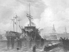 PORTSMOUTH HARBOR SAILBOATS SHIP MAN OF WAR FRIGATE ~ 1840 Art Print Engraving