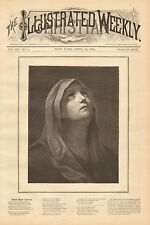 Virgin Mother Mary, Stabat Mater Dolorosa, Verse Vintage, 1884 Antique Art Print