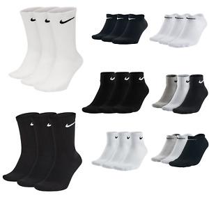 Nike Socks Mens Women Size Crew White Ankle Black Trainer Football Sports Golf