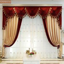 thick luxury shading velvet villa beige yellow cloth curtain valance panel C241