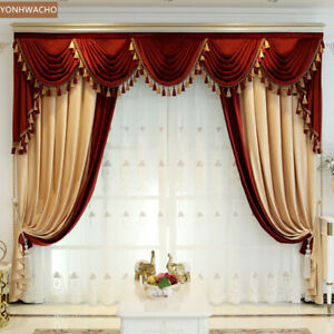 thick luxury shading velvet villa beige yellow cloth curtain valance panel C241