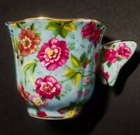 BUTTERFLY HANDLE SMALL CHINTZ TEA CUP *ONLY NO SAUCER* GOLD - BLUE