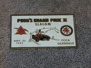 SEPT. 23, 1962 PEON'S GRAND PRIX II SLALOM FCCA GLENDALE BRASS PLAQUE