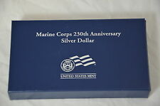 2005 Marine Corps 230th Anniversary 90% Silver Dollar Proof Coin With Box & CO