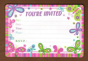 Butterfly Birthday Party Invitations 7 Count Pink Purple Lime Green Blue