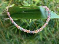 "natural authentic pink sapphire gemstone bracelet solid 18k gold 7/"" b57"