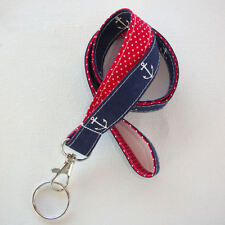 Key Chain Lanyard Id Holder Key Leash badge holder - navy blue anchors red dots