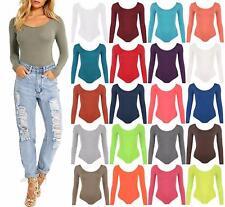 Womens Long Sleeve Stretchy Bodysuit Ladies Scoop Neck Leotard Body Top T shirt