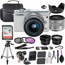 Canon EOS M100 Mirrorless Camera (White) w/ 15-45mm STM + Accessory Bundle