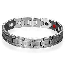 Stainless Steel Magnetic Therapy Bracelet Hematite Balance Wristband for Men