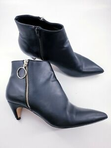 Faith size 6 (39) black faux leather side zip cone heel Chelsea ankle boots