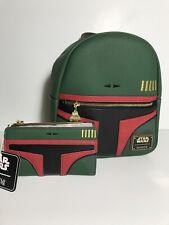 New Loungefly Disney Star Wars Boba Fett Mini Backpack & Wallet