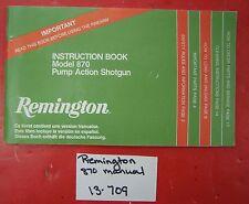 Remington Instruction Book Model 870 Pump Action Shotgun Manual PARTS LIST