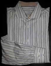 Bugatchi Uomo Shirt Button-Front 17.5 / 36-37 Striped Blue Navy Gray Ivory c1380