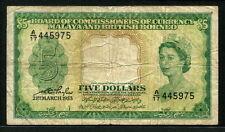 Malaya & British Borneo 1953, 5 Dollars, P2, Fine