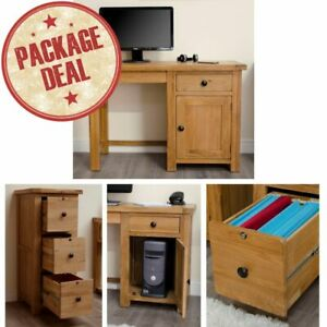 Rustic Solid Oak Office Furniture Small Desk and Three-Drawer Filing Cabinet