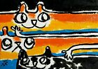 """ACEO Original """"Squashed Cat"""" Acrylic 2.5 x 3.5 Painting Samantha McLean"""