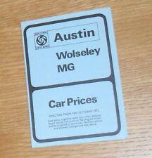 Austin Wolseley MG Price List 1973 Mini Clubman 1275 GT 1300 2200 Six MGB GT V8