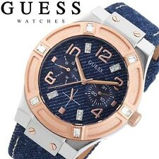 GUESS Women's U0289L1 Silver and Rose Gold-Tone Multi-Function Watch Denim Strap