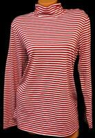 White stag red white shimmer striped long sleeve mock neck plus size top XXL, 20