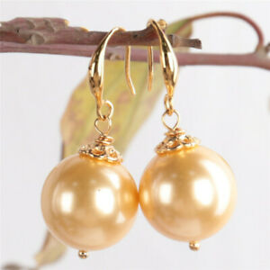 16MM Yellow shell pearl Earring 18KGP Dangle Holiday gifts Natural Party AAA