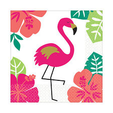 16 x Hawaiian Aloha Pink Flamingo Beverage Canape Drinks Napkins Tableware