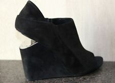 NIB ALEXANDER WANG BLACK SUEDE OPEN TOE WEDGE HEEL SHORT BOOTIES Shoes 39.5