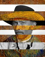 "Van Gogh's Self Portrait and Lee Van Cleef Canvas 11.8""X15.7"""