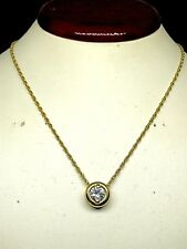 Solitaire Pendant Necklace Natural Diamond 0.50Ct 14Kt Yellow Gold Bezel Setting