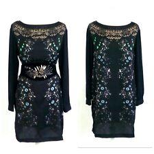 zara sexy black 60s embellishment crystal lace smock tunic dress size 10 12