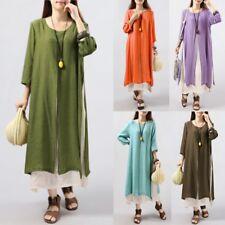 Women 3/4 Sleeve Casual Kaftan High Split Long Shirt Dress Round Neck Maxi Dress