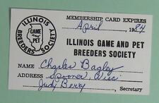 1984 Illinois Game & Pet Breeders Society Membership License...Free Shipping!