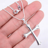 925 Sterling Silver 16~30 inch Necklace Chain+ Large Chic Cross Pendant set H377