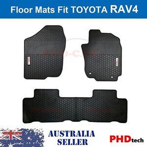 Premium Quality All Weather Rubber Floor Mats fit RAV 4 RAV4 White Logo