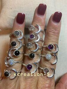 50 PCs. Lot Multi Stone Moonstone & Amethyst 925 Silver Plated Adjustable Rings
