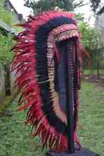 Warbonnet Indian Headdress Chief Red Large Costume Feather Headband Handmade