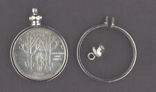 25 cent / USA QUARTER Coin Holder~ for charm, necklace, pendant, display ~ pk/4