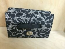 BORGHESE COSMETIC BAG BLACK&GREY LACE  PATTERN W/MIRROR