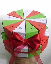 24 Christmas advent calendar boxes red green white slice cake boxes