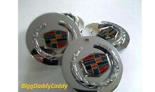 Cadillac CHROME Wreath & Crest WHEEL CENTER CAPS Set 4!