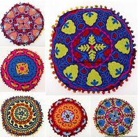 "16"" Round Uzbek Suzani Cushion Cover Vintage Embroidered Floor Throw Pillow Case"