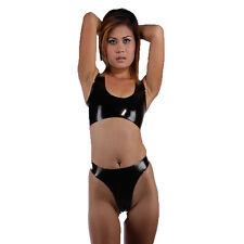 Brand New Latex Rubber Gummi Black Combination Bra and Bikini (one size)