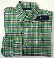 NWT $98 Polo Ralph Lauren LS Shirt Mens Green Plaid Long Sleeve S M  Cotton NEW