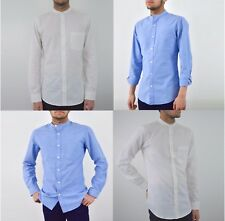 Mens Grandad Shirt Collarless White & Blue Band Collar Shirt Slim Fit UK S - XXL