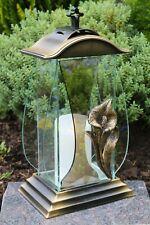 Grablicht Grablaterne LED Lampe Grableuchte Glas Grabschmuck Kerze bronze braun