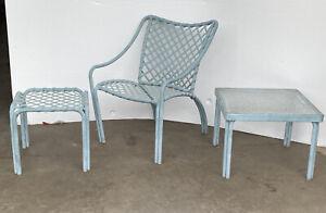 Vintage Brown Jordan Patio Tamiami Bistro Chair Table & Ottoman Set